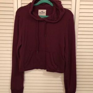 Hollister Womens Large Maroon Crop Hoodie cozy